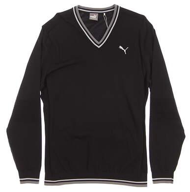 New 2017 Mens Puma Evoknit V-Neck Golf Sweater Medium M Puma Black MSRP $80
