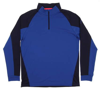 New 2017 Mens Puma Colorblock 1/4 Zip Golf Pullover Medium M Lapis Blue/Peacoat MSRP $80