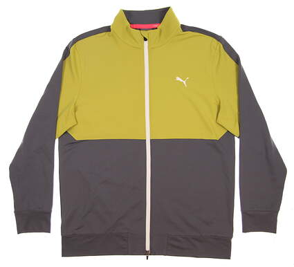New 2017 Mens Puma Golf Track Jacket Medium M Grey/Yellow MSRP $70