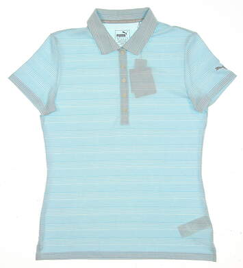 New 2017 Womens Puma Heather Stripe Golf Polo Small S Nrgy Turquoise Blue MSRP $65