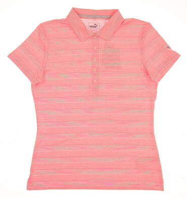 New 2017 Womens Puma Heather Stripe Golf Polo Small S Nrgy Peach MSRP $65