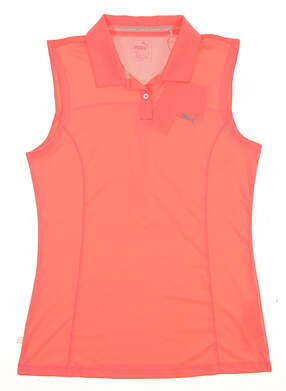 New 2017 Womens Puma Sleeveless Golf Polo Small S Pink MSRP $45