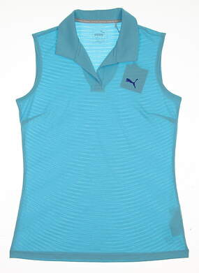 New 2017 Womens Puma Jacquard Sleeveless Golf Polo Small S Nrgy Turquoise MSRP $55
