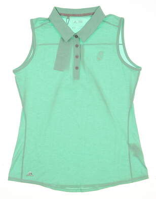 New W/ Logo Womens Adidas Climalite Essentials Heather Sleeveless Polo Medium M Green MSRP $50