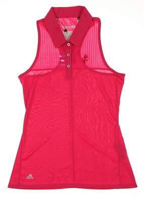 New W/ Logo Womens Adidas 3-Stripe Sleeveless Golf Polo X-Small XS Raspberry MSRP $65