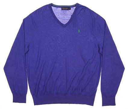 New Mens Ralph Lauren Golf Sweater X-Large XL Blue MSRP $98