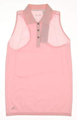 New Womens Adidas Seamless Sleeveless Golf Polo X-Small XS Pink MSRP $70