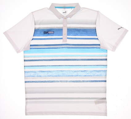 New W/ Logo Mens Puma Washed Stripe Polo Large L Bright White/True Blue MSRP $75