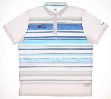 New W/ Logo Mens Puma Washed Stripe Polo XX-Large XXL Bright White/True Blue MSRP $75