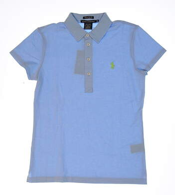 New Womens Ralph Lauren Heathered Pique Golf Polo Large L Chatham Blue MSRP $90