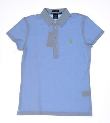 New Womens Ralph Lauren Heathered Pique Golf Polo Medium M Chatham Blue MSRP $90