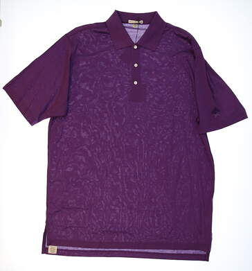 New W/ Logo Mens Peter Millar Golf Polo X-Large XL Purple MSRP $90