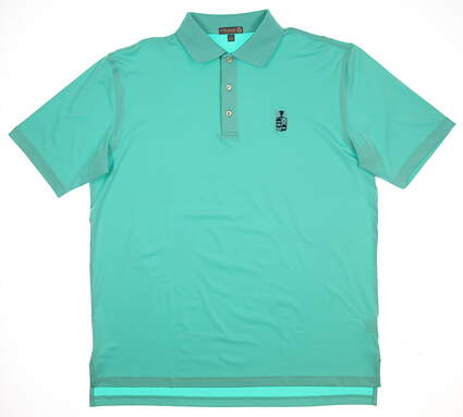 New W/ Logo Mens Peter Millar Golf Polo Large L Green MSRP $90