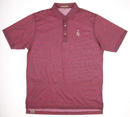 New W/ Logo Mens Peter Millar Golf Polo Large L Pink/Grey MSRP $90