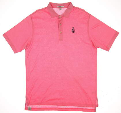 New W/ Logo Mens Peter Millar Golf Polo Large L Pink MSRP $90