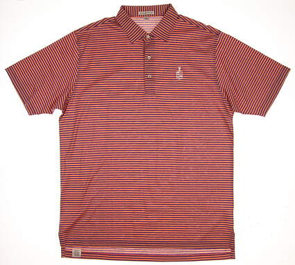 New W/ Logo Mens Peter Millar Golf Polo Large L Orange/Purple MSRP $90