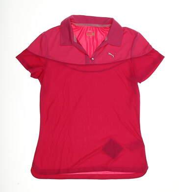 New Womens Puma CB V-Neck Golf Polo Small S Fuchsia MSRP $65