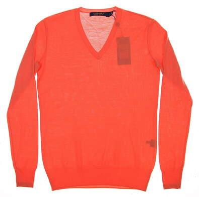 New Womens Ralph Lauren V-Neck Golf Sweater X-Small XS Orange MSRP $145