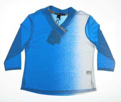 New Womens Jamie Sadock 3/4 Sleeve Golf Polo X-Large XL Blue MSRP $93