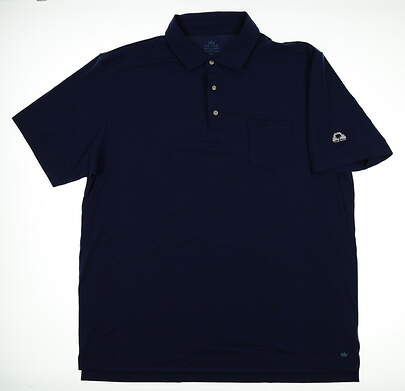 New W/ Logo Mens Peter Millar Mountainside Collection Polo X-Large XL Navy Blue MSRP $90