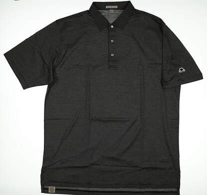 New W/ Logo Mens Peter Millar Golf Polo X-Large XL Black MSRP $90