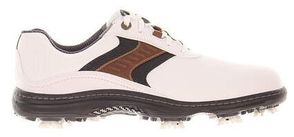 New Mens Golf Shoe Footjoy Contour Medium 11 White/Brown MSRP $140