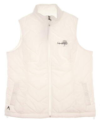 New W/ Logo Womens Antigua Heiress Golf Vest Large L White MSRP $60