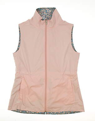 New Womens Peter Millar Reversible Golf Vest Small S Pink/Multi MSRP $130