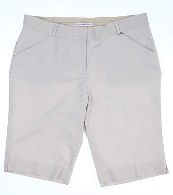 New Womens Peter Millar Golf Shorts Size 8 Khaki/White MSRP $100