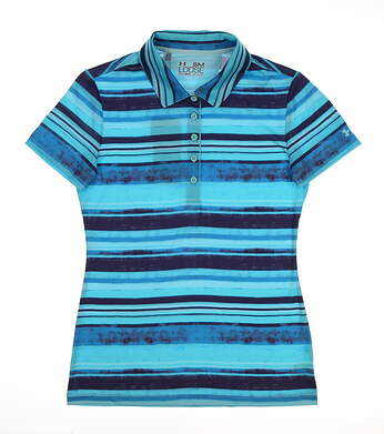 New Womens Under Armour Club Stripe Golf Polo Large L Blue/Purple MSRP $70