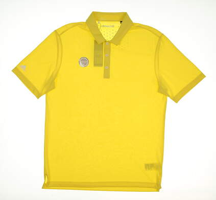 New Mens Adidas ClimaChill Club Golf Polo Medium M Light Yellow MSRP $70