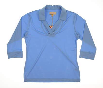 New Womens Sport Haley 3/4 Sleeve Polo Medium M Blue MSRP $78 WD013004