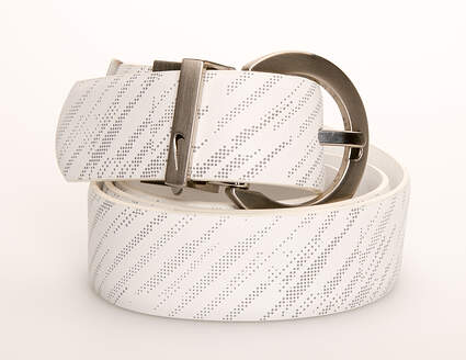 New Womens Nike Belt Large L Leather White MSRP $45 13085-291