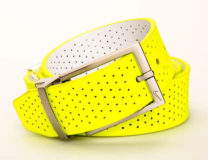 New Mens Nike Reversible Belt 34 Leather Volt/White MSRP $50 11188-301