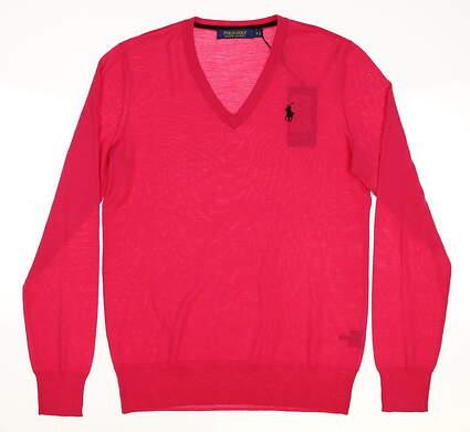 New Womens Ralph Lauren V-Neck Golf Sweater Small S Pink MSRP $145