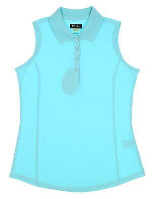 New Womens Greg Norman Sleeveless Golf Polo Small S Blue MSRP $60
