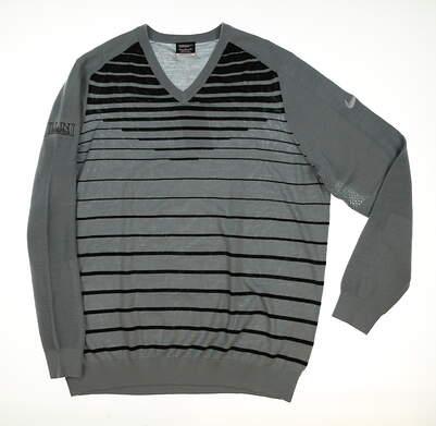New W/ Logo Mens Nike Golf Sweater Gray/Black MSRP $140