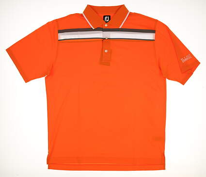 New W/ Logo Mens Footjoy Golf Polo X-Large XL Orange/Gray/White MSRP $75
