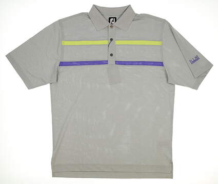 New W/ Logo Mens Footjoy Golf Polo Large L Gray MSRP $68