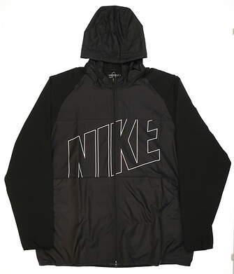 New Mens Nike Printed Packable Hooded Jacket Jacket XX-Large XXL Black MSRP $120 833316