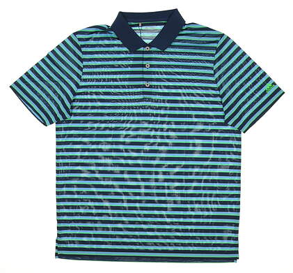 New Mens Adidas Club Merch Stripe Golf Polo Large L Blue/Green MSRP $60 BC2114