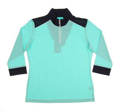 New Womens Sport Haley Addison 3/4 Sleeve Golf Polo Medium M Mint/Navy MSRP $78 WE013005