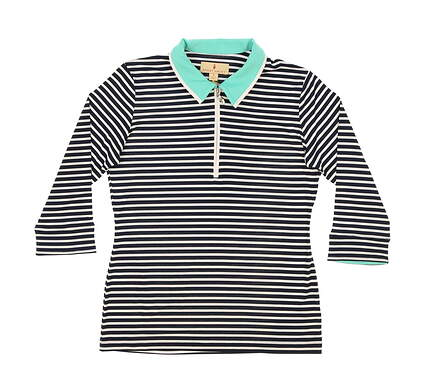 New Womens Sport Haley 3/4 Sleeve Golf Polo Small S Navy/Mint/White MSRP $78 WE113209