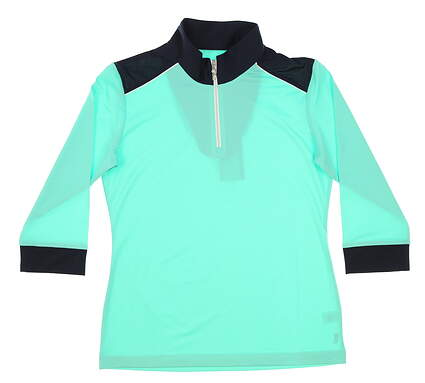 New Womens Sport Haley Addison 3/4 Sleeve Golf Polo Small S Navy/Mint MSRP $78 WE013005