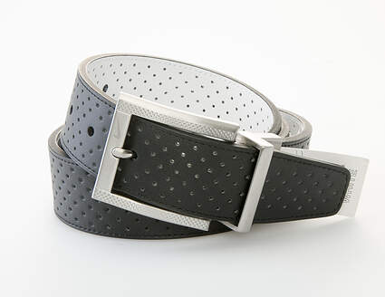 New Mens Nike Golf Reversible Perforated Belt Mens 36 Leather Black/White MSRP $50 1108925