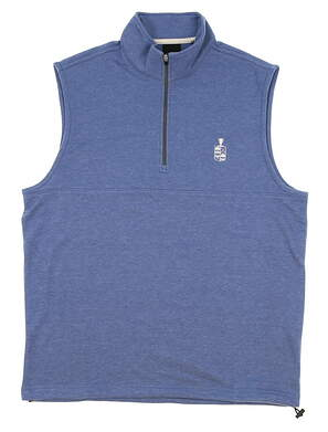 New W/ Logo Mens Dunning Golf Natural Hand Vest Small S Mid Blue Heather MSRP $79 D7S17V913