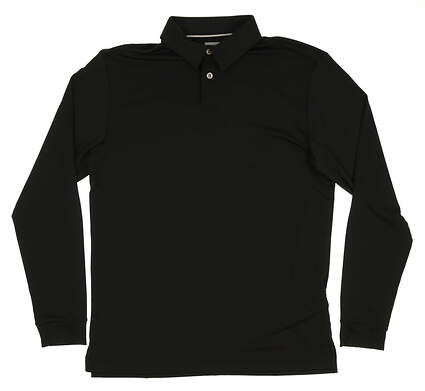 New Mens Ashworth Golf Matte Interlock Solid Long Sleeve Polo Small S Black MSRP $75 AE9627