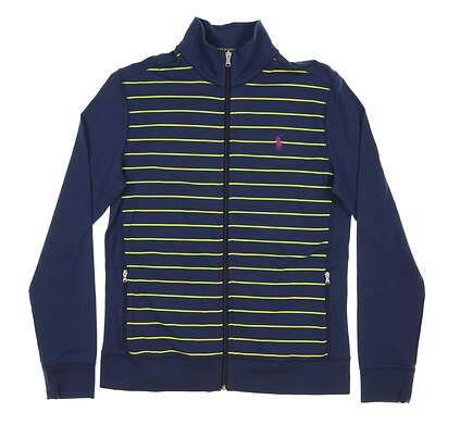 New Womens Ralph Lauren Full Zip Golf Mock Neck Medium M Navy Blue MSRP $185