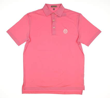 New W/ Logo Mens Peter Millar Solid Stretch Jersey Golf Polo Small S Pink MSRP $85 MS17EK01S