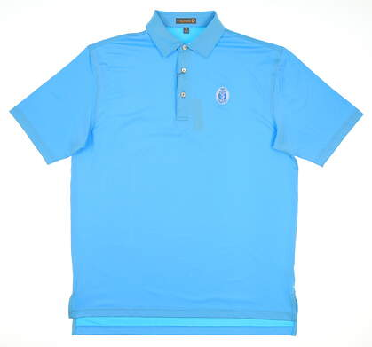 New W/ Logo Mens Peter Millar Solid Stretch Jersey Golf Polo Medium M Wave MSRP $85 MS61EK01S